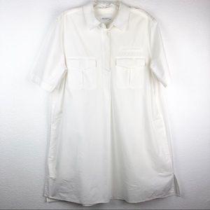 Equipment Bright White Shirt Dress w/Pockets Sz L